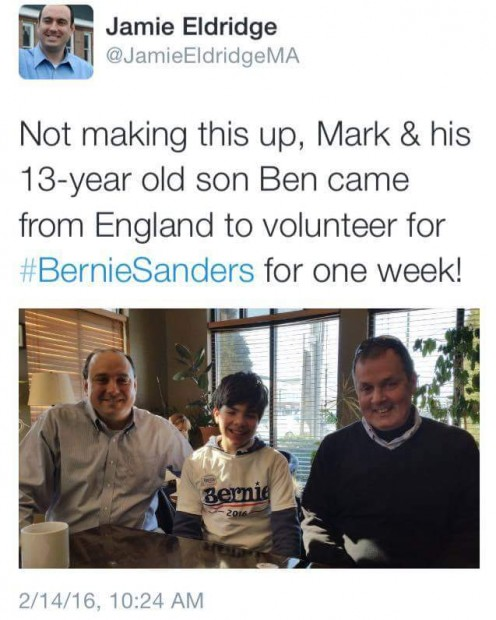 Mark and his 13-year-old son Ben came from England to volunteer for a week on the Bernie Sanders campaign.