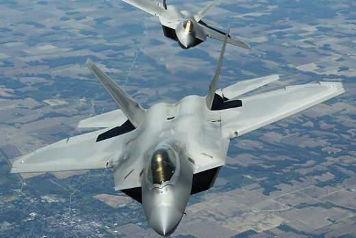 US F - 22 Raptor Stealth Fighters.