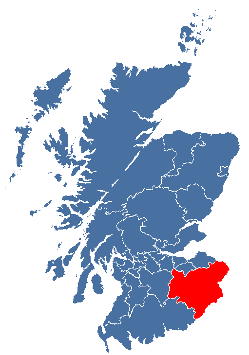 Map location of Scottish Borders Region