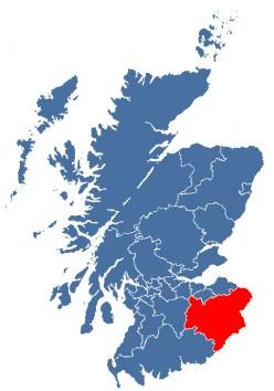 Map location of Scottish Borders Region