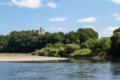 Norham Castle viewed from the River Tweed.