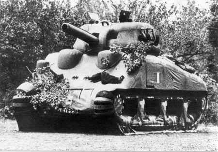 A dummy Sherman tank - convincing enough in this shot until you see the 'wrinkles'. Seen from further away there would be no doubt of its authenticity