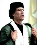 The fallen dictator:  Gaddafi.
