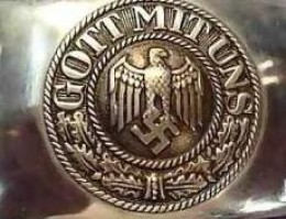 """Nazi belt buckle that says """"God is with us"""" but please tell us more about how the Nazis were an """"atheist regime"""""""