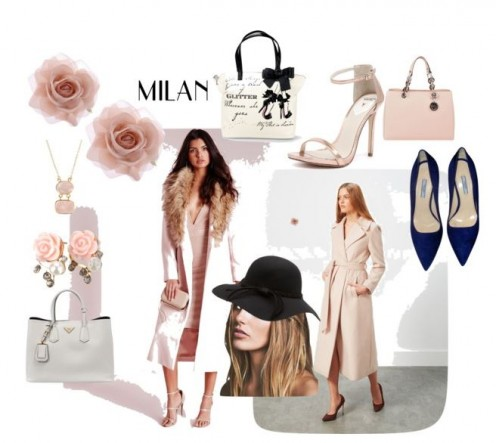 Feminine pink women's wear with bags and shoes to complete the look.