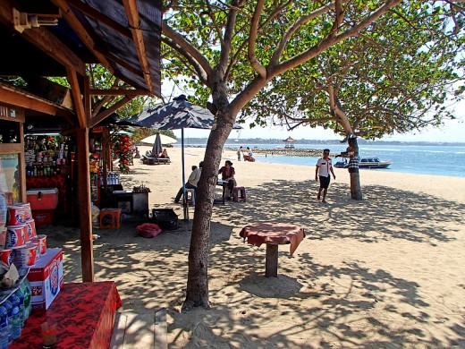 Snack/drink shops on the beach.