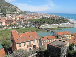 The new town of Ventimiglia, Liguria, seen from the old town. The market and the public gardens are visible.