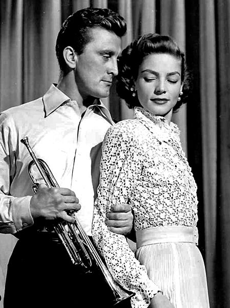 "Kirk Douglas and Lauren Bacall in 1950's ""Young Man With a Horn."""
