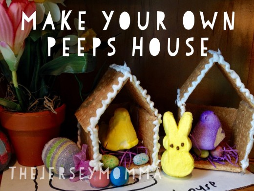 The Jersey Mama also makes Peeps Houses but she suggests using hot glue.  This would prevent kids from eating these tasty little Easter treats, so I suggest you use edible frosting as glue rather than real glue.