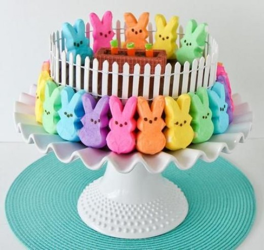 I found this gorgeous Easter cake on Pinterest.  Just look at how easy it is to decorate a holiday cake with Peeps Candy.  How easy is that?