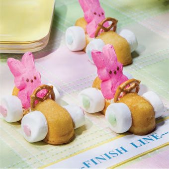 Easter Bunny Racecars are made with Twinkies, Peeps, and Marshmallows.  This is a great edible craft to make with your kids for Easter.