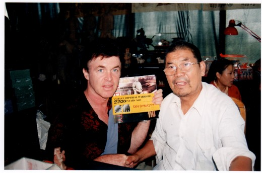 Here I am sitting with Yang Zhi Fa, the man who discovered the Terra Cotta Warriors in 1974.