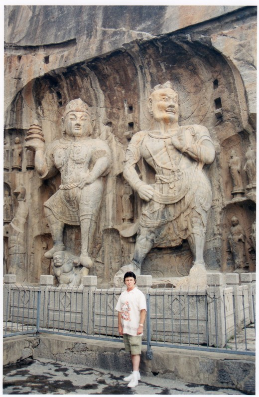 I'm standing by these immense carved warriors to show their size.