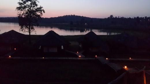 Deluxe Tent viewed from Rustic Machaan - evening - Bison Resort,Kabini