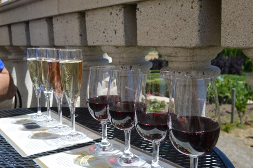 Sparkling wine tasting and red wine tasting