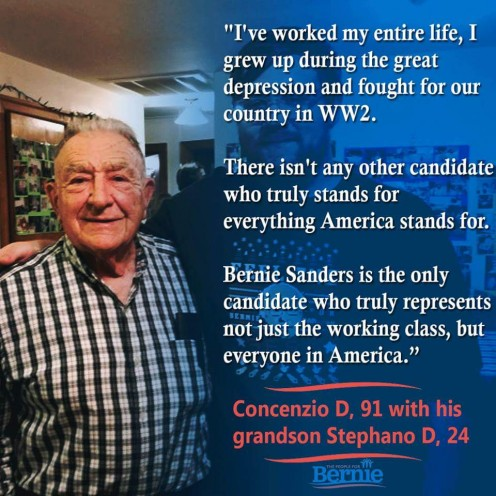 A 91-year-old and his grandson are both voting for Bernie Sanders for president.