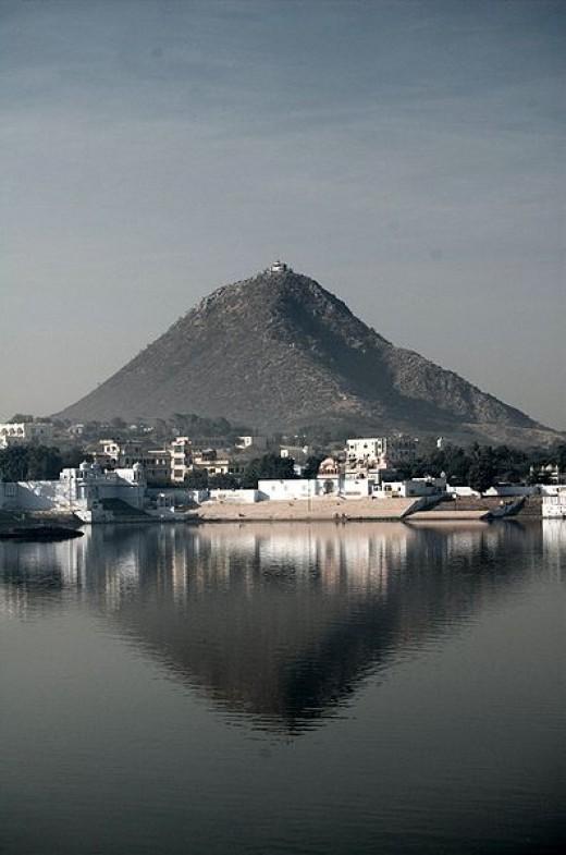 View from Sarasvati temple overlooking Pushkar lake