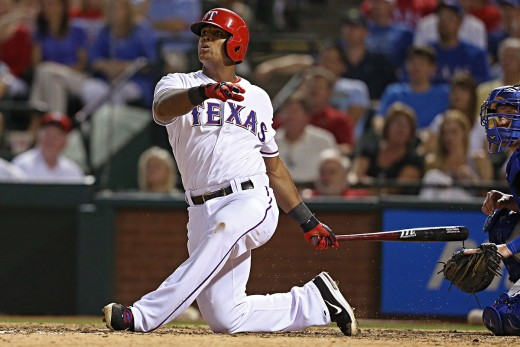 Usually when Beltre goes down on one knee he's hitting a curve ball, and hitting it far.