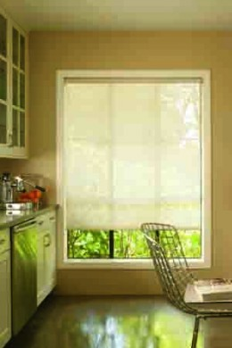 You can also get solar shades in lighter colors.  Photo courtesy http://www.flickr.com/photos/next-day-blinds/2492883797/