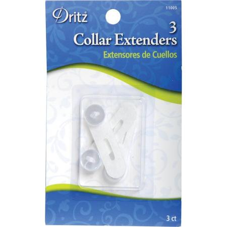 Plastic collar extenders attach to the button on a dress shirt and extend the collar size. Similar to the cloth collar extender, they are often easily visible under a tie and can break under excessive stress. Metal collar extenders are more durable.