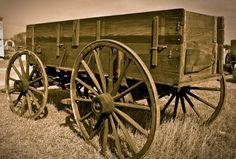 A wagon on display
