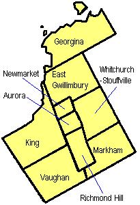 Map of York Region, Ontario