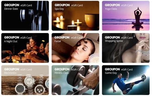 Gift card options at Groupon