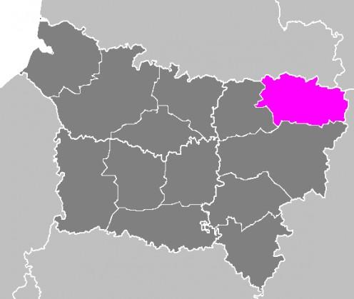 Map location of Vervins 'arrondissement'.