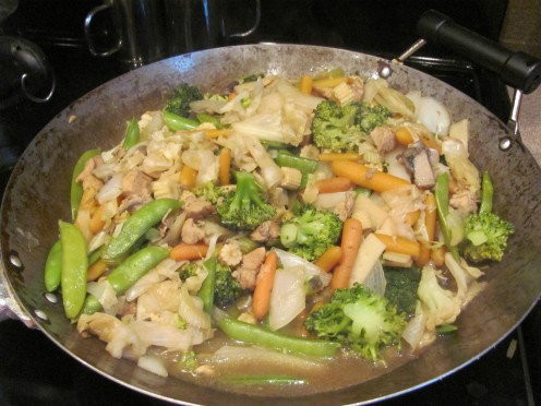 I eat chicken and vegetable stir fry at least once a week.
