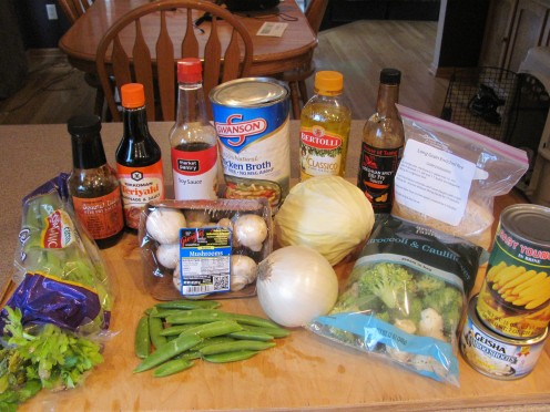 Ingredients for Rice and Teriyaki Chicken Stir Fry