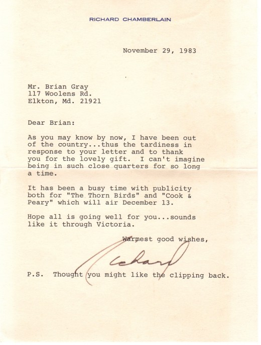 Richard was always such a gentleman.  This letter brings back good memories.