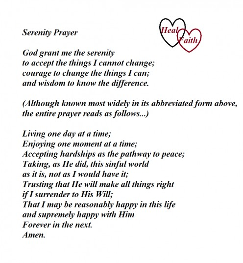 The Serenity Prayer Is A Step Closer To Letting Go!