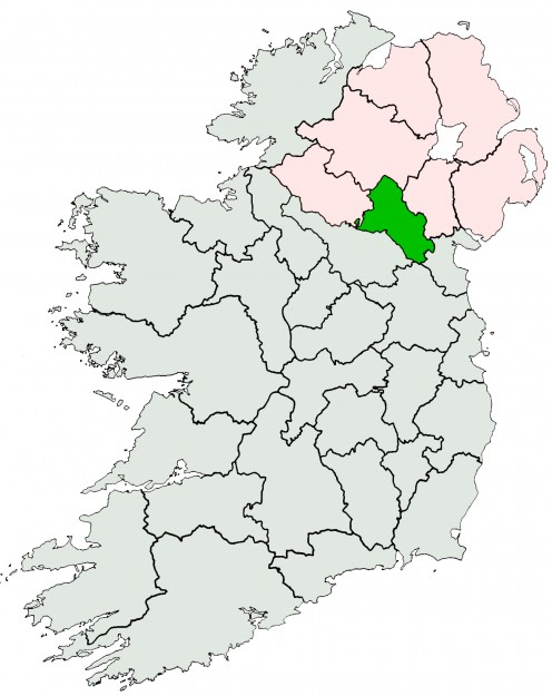 County Monaghan highlighted on an outline map of Ireland.