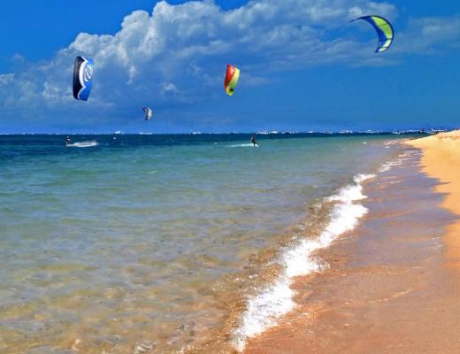 Kitesurfing is a popular watersport on Sanur beach.