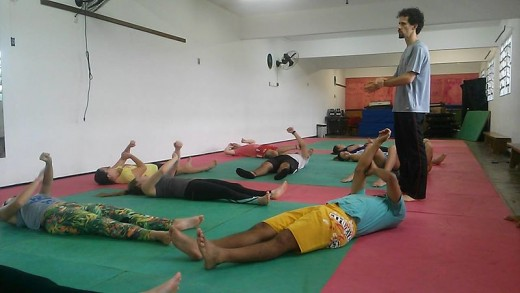 Group class with fitness trainer