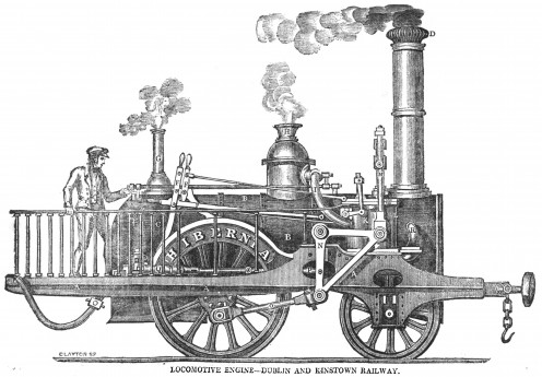 "The 2-2-0 steam locomotive Hibernia, built in 1834. ""Locomotive Engines on the Dublin and Kingstown Railway"", The Dublin Penny Journal, Vol. 3, No. 125, p. 165"