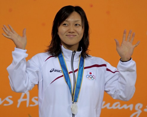 A happy Yuka Kato is seen here after she wins the silver medal following her performance in the Women's 50 meter butterfly.