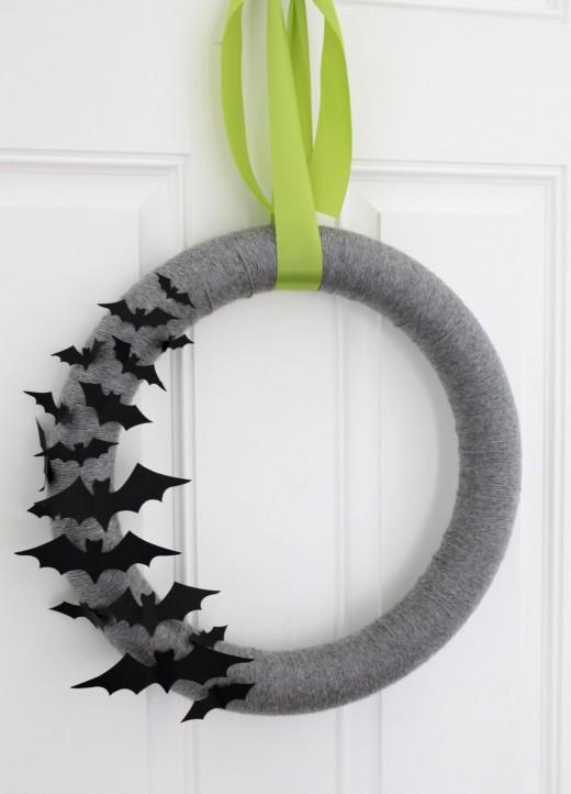 This bat wreath is going to look great hanging over your front door.