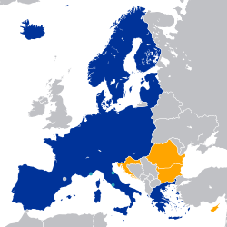 Countries part of the Schengen Area (in Blue). Countries required to join the Schengen Area (Orange). UK and Ireland Maintain opt-outs.