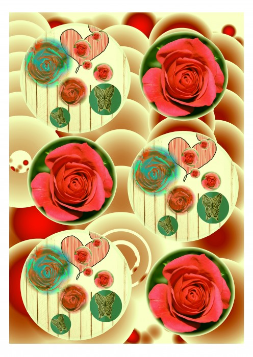 Red roses and hearts on cream background