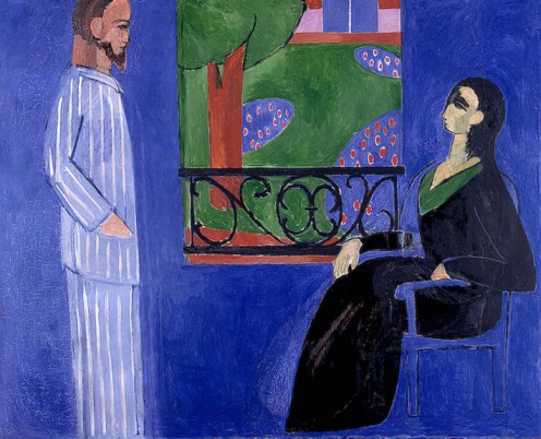 Henri Matisse, Conversation. Notice the flat blue background, the cartoonish garden and trees, and the blocky figures.