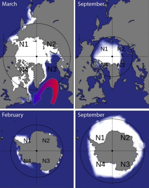 Ice depositions grow usually centric around the pole, unless a phenomena like the Warm Gulfstream makes it acentric like you can see on the North pole in March.