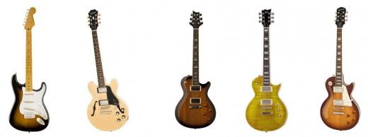 Top 5 Best Electric Guitars Under 500 dollars - Squier Classic Vibe 50's Stratocaster, Epiphone Les Paul Standard Plustop Pro, PRS SE Standard 245, LTD EC-256 and Epiphone ES-339 PRo