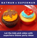 Kids pick sides at Batman v. Superman superhero theme party
