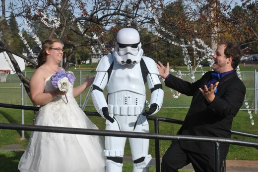 We used the cranes as the backdrop for the pictures at our wedding. Also we had a storm trooper.