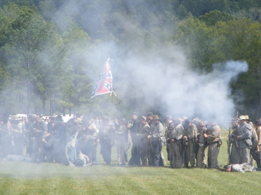 Confederate soldiers at the Battle of Pilot Knob in Pilot Knob Missouri in 2007.