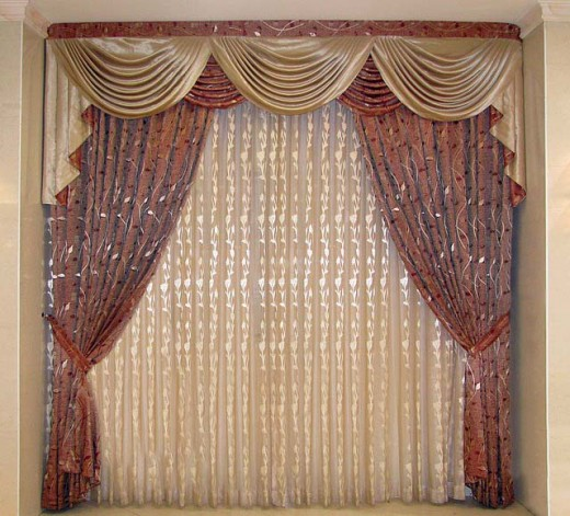 Formal drapes accented with sheers and satin.