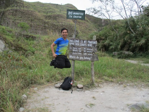 "The sign says: ""20 minutes to crater Welcome to Mt. Pinatubo Your trek starts here for: Young age 15 minutes Middle age 18 minutes Senior citize.. 20 minutes Where do you belong?"" Guess who took off running..."
