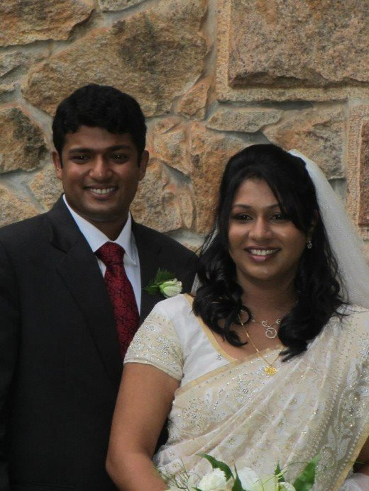 My nephew and his bride!Bride in white saree & veil.