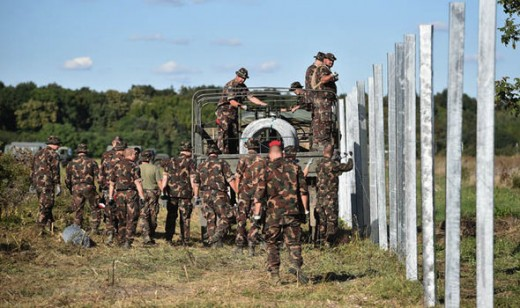 Hungarian Military Troops building fencing